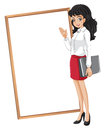 A woman in front of the empty whiteboard illustration on white background Stock Photography