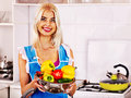 Woman with fruit at kitchen happy Royalty Free Stock Photo