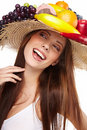 Woman with fruits headwear. Royalty Free Stock Photo