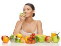 Woman with fruits and vegetables picture of beautiful Stock Photography