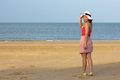Woman full length with beach front day light Royalty Free Stock Photo