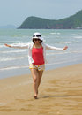 Woman full length with relaxing on the beach day light Royalty Free Stock Photos