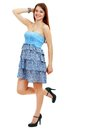 Woman in funky blue dress Stock Photo