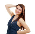 Woman in funky dark blue dress Stock Photo