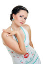 Woman in funky white dress Royalty Free Stock Photo