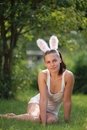 Woman with funny rabbit ears Royalty Free Stock Photos