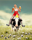 Woman in funny tiroler oktoberfest setting Royalty Free Stock Photo