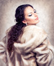Woman in Fur Mink Coat Royalty Free Stock Photo