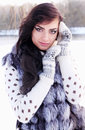 Woman in a fur vest portrait of Royalty Free Stock Photo