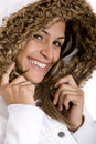 Woman with furry coat Stock Photography
