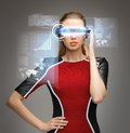 Woman with futuristic glasses picture of beautiful Stock Photography