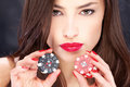 Woman and gambling chips Royalty Free Stock Images