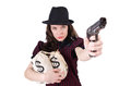 Woman gangster with gun and money Royalty Free Stock Photo