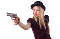 Woman gangster with handgun on white Stock Photo