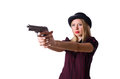 Woman gangster with handgun on white Stock Photography