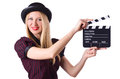 Woman gangster with movie board on white Royalty Free Stock Photo