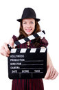 Woman gangster with movie board on white Royalty Free Stock Photography