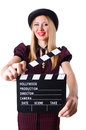 Woman gangster with movie board on white Stock Photo