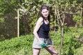 Woman gardening - autumn hobby