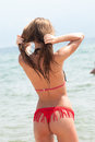 Woman gazing at the sea back view of a with bikini in vertical picture fixing and splits her hair Stock Images