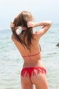 Woman gazing at the sea Royalty Free Stock Photo