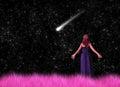Woman Gazing Shooting Stars Il...