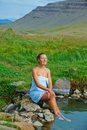 Woman in geothermal spring Royalty Free Stock Image