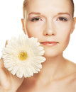 Woman with gerber flower Royalty Free Stock Photo