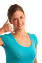 Woman gesturing call me sign isolated Royalty Free Stock Image