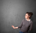 Woman gesturing with copy space Royalty Free Stock Photo