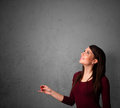 Woman gesturing with copy space young empty Stock Image