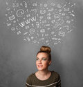 Woman gesturing with sketched social network icons above her head