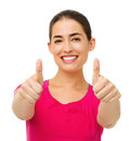 Woman gesturing thumbs up with both hands portrait of young over white background horizontal shot Royalty Free Stock Photos