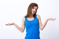 Woman gesturing to say I don't know Royalty Free Stock Photo