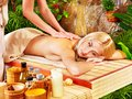 Woman getting massage in spa. Stock Images