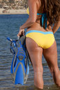Woman getting ready to go snorkeling in bikini holding pair of fins and dive mask and heading into the water for a swim off center Royalty Free Stock Image