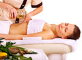 Woman getting spa therapy outdoor young oil isolated Stock Photography