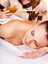 Woman getting spa treatment outdoor. Stock Photo