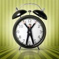 Woman in a giant clock Royalty Free Stock Photo