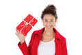 Woman with gift box beautiful wrapped red dots Royalty Free Stock Photo