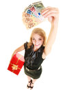 Title: Woman with gift box and euro currency money banknotes.