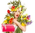Woman with gift box and flower. Stock Photos