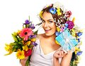 Woman with gift box and flower bouquet isolated Royalty Free Stock Photos