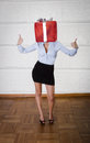 Woman with gift box on head object Royalty Free Stock Photos