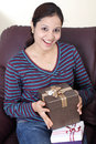 Woman with gift boxes Stock Photos