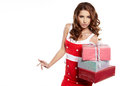 Woman with a gift boxes Royalty Free Stock Photography