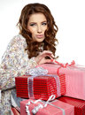 Woman with a gift boxes Royalty Free Stock Photo