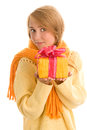 Woman with gift portrait of happy on white background Royalty Free Stock Image