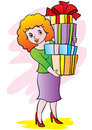 The woman with gifts Royalty Free Stock Photo