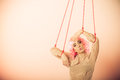 Woman girl stylized like marionette puppet on string young Stock Photography